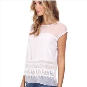 Bailey 44. Stark white lace bottom blouse.